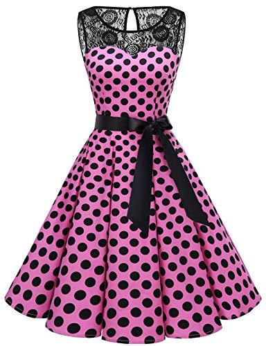 bbonlinedress 1950er Ärmellos Vintage Retro Spitzenkleid Rundhals Abendkleid Pink Black BDot L