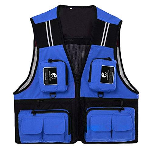 Dooxi Uomo All'aperto Traspirante Pesca Gilet Multi-Tasca Quick-Dry Fotografo Giacca Blu L