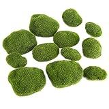 MAGT Musgo Artificial Piedras, 12Pcs Piedras De Musgo Artificiales Verdes Resistente Al Desgaste Colorfast Simulación Hierba Bryophyte Bonsai Garden DIY Paisaje Decoración para Cafetería del Hotel