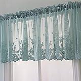 1 cortina de cocina, panel de encaje bordado, floral, media ventana, con pestañas, semitransparente, decorativa, para cocina, baño, sala de estar, café (74 x 61 cm, azul)
