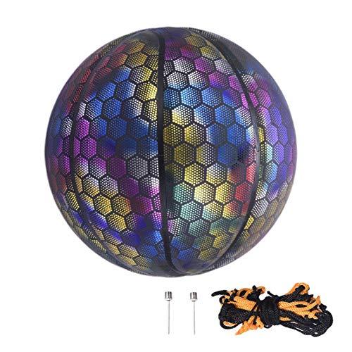 N/Z Balón de baloncesto luminoso, luminoso y reflectante en la noche, pelota de baloncesto luminosa, diversión en la oscuridad, luz LED, ideal para pequeños