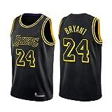 CHSC # 24 Kobe Bryant Trikot Lakers Weste, Jungen Basketball Fans Uniform Tops, City Edition bestickte T-Shirt Sportbekleidung schwarz-S_Geschenk