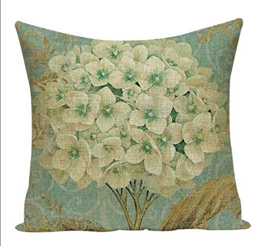 Tr73ans blauwe en witte hortensia bloemen frans land vintage ansichtkaart rustieke retro stijl vierkant linnen kussensloop Kussensloop cover