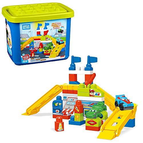 Mega Bloks First Builders Race Car Garage with Big Building Blocks, Building Toys for Toddlers (60 Pieces)