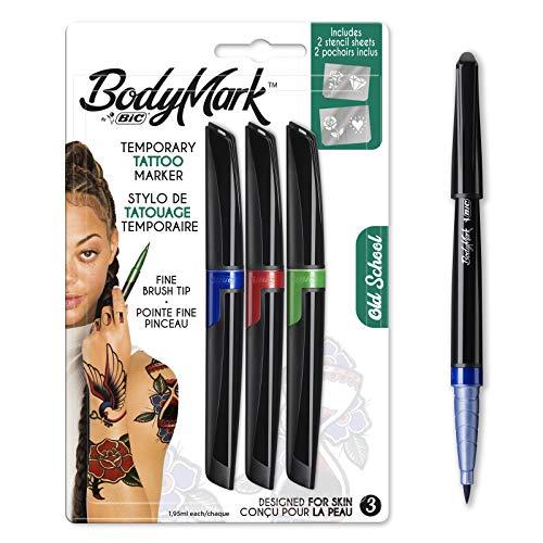 BodyMark by BIC - Marcadores y Plantillas para Tatuajes Temporales, Kit Old School, Pack de 3+2, Multicolor