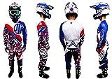 JLP RACING - Tuta con pantaloni, per moto, cross, quad, MTB, BMX, tricolore, blu, bianco, rosso, taglia 36 US/XL