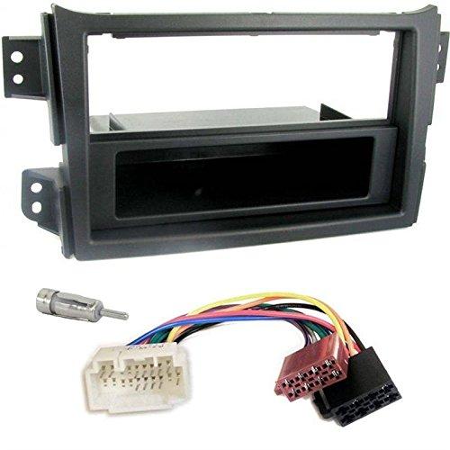 Sound-way Kit Montaggio Autoradio, Mascherina 1 DIN, Vano Portaoggetti, Cavo Adattatore Connettore ISO, Adattatore Antenna, compatibile con Opel Agila e Suzuki