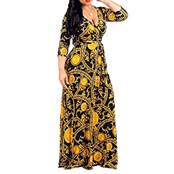 FANDEE African Floral V Neck 3/4 Sleeve Plus Size Party Long Maxi Dress with Belt Gold XX-Large