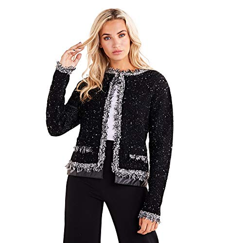 Mela Zwarte Tweed Cropped Jas