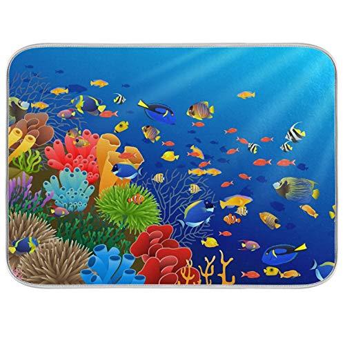 Tapis de séchage à vaisselle en microfibre de comptoirs de cuisine en microfibre protecteur de coussin sec 16 x 18 pouces poisson nager dans le sous-marin et le corail