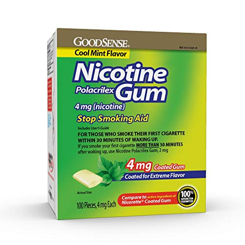 GoodSense Nicotine Polacrilex Gum 4mg, Cool Mint Flavor, 100-count, Stop Smoking Aid, GoodSense Smoking Cessation Products