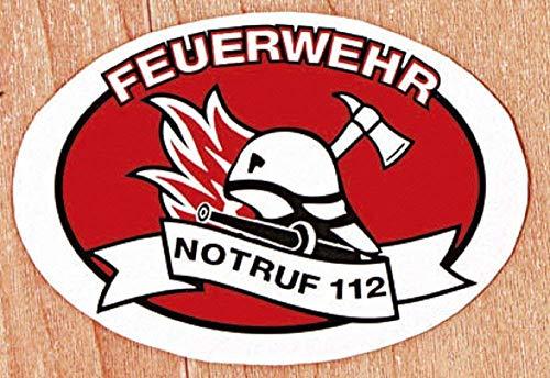 (307788) Auto-Aufkleber - FEUERWEHR NOTRUF 112 - Gr. ca. 10 x 12cm - Feuerwehr Firefighter Rettungshelfer