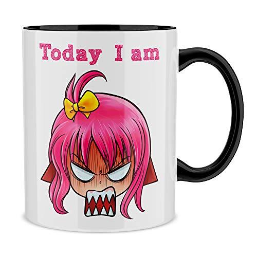Mug avec anse et intérieur de couleur (Noir) - parodie Today I am - Manga Style - Today I am de Très MAUVAIS POIL !! (Affichez votre humeur du jour !) (Mug de qualité supérieure - imprimé en France)