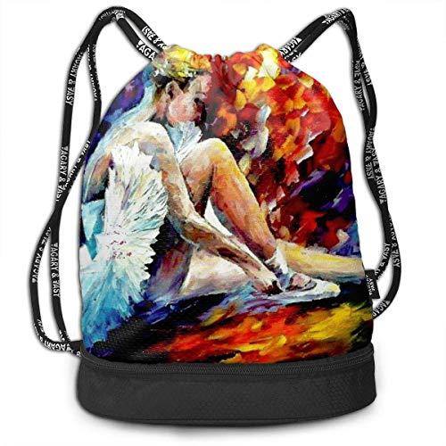 PmseK Turnbeutel Sportbeutel Kordelzug Rucksack, Ballet Dancer Colorful Art Multifunctional Bundle Backpack Shoulder Bag for Men and Women