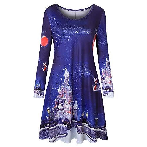 ESAILQ Kleider Frauen Langarm Vintage Weihnachtsdruck Rundhals Partykleid
