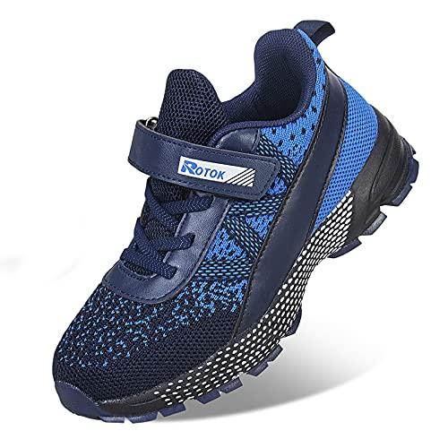 Ouoruee Zapatillas de deporte para niños, zapatillas de deporte para niños, zapatillas de calle para niños unisex, color Azul, talla 33 EU