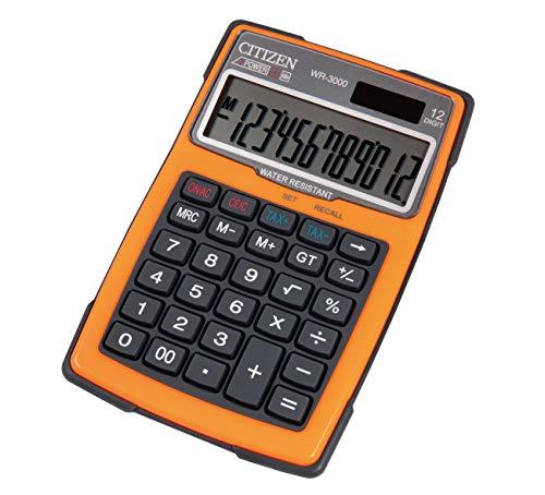Citizen Tischrechner Outdoor 3000, Wasserfest, Solar- und Batteriebetrieben, Zwölfstellig, 3-Tasten Speicher, Orange, 7238043