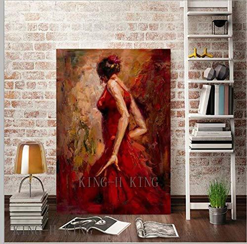 mmzki Pintura al óleo Deportiva Bailarina de Flamenco española Pintada a Mano Pintura al óleo sobre Lienzo Bailarina de España Bailando con Vestido Rojo Pinturas al óleo-40x60CM_KH3