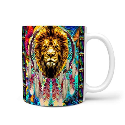 DOGCATPIG Taza de regalo con diseño de atrapasueños de león para papá, color blanco, 11 onzas