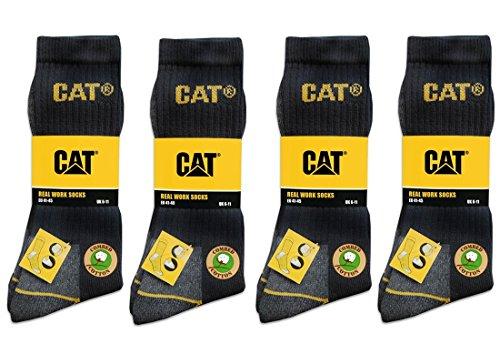 CAT Caterpillar 12 Paar Arbeitssocken, Schwarz - MEGA-Größenauswahl für optimale Größenwahl - 35-40 | 39-42| 41-45 | 43-46 | 46-50 (39-42)