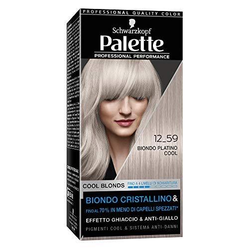 Schwarzkopf Palette Professional Performance, Cool Blonds Colorazione Permanente per Capelli, Tinta per Capelli, Copertura dei Capelli Bianchi, Schiarisce e Colora, Tonalità 12-59 Biondo Platino Cool