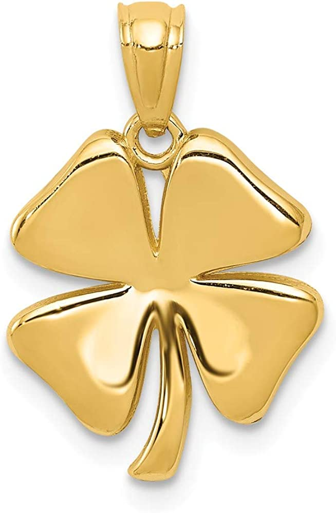 Solid 14k Yellow Gold 4 Leaf Clover Pendant Charm