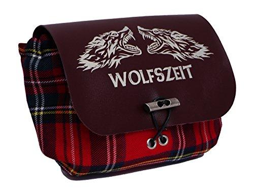 Rote Kilttasche/Gürteltasche Wolfszeit - mit bordeauxrotem Leder