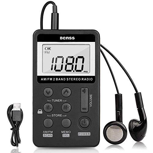 Mini Radio Portatile Radio Tascabile Digitale Ricevitore FM AM Pocket Personale Radio Ricevitore con USB Ricaricabile e Auricolare per Camminare Jogging (Nero)