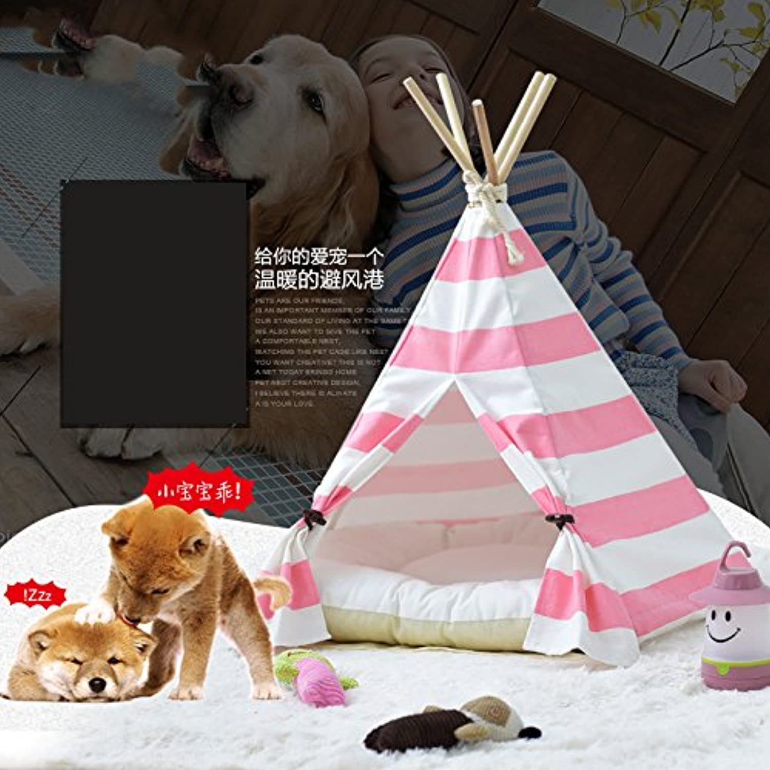 Pet Teepee Dog & Cat Bed  Portable Dog Tents & Pet Houses