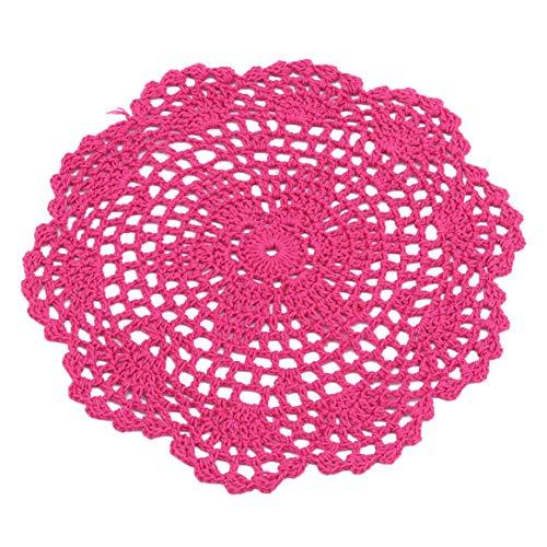 WEIHEE, sottobicchieri Rotondi per Bevande, tovagliette all'Uncinetto, Motivo Floreale, sottobicchieri Multiuso, Rose Red, Diameter:21cm