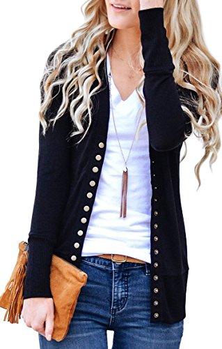 NENONA Women's V-Neck Button Down Knitwear Long Sleeve Soft Basic Knit Cardigan Sweater(Black-M)