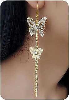 Fashion Zircon Double Butterfly Long Dangle Earrings,Gold Silver Hollowing Crystal Tassels Earring for Women Girls