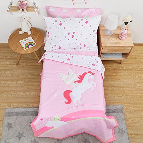 TILLYOU 5-teiliges Einhorn-Bettwäsche-Set für Mädchen, leichtes und weiches Bett-in-a-Bag-Mikrofaser-Bettwäsche-Set, enthält 1 Oberlaken, 1 Matratzenlaken, 1 gepolsterte Steppdecke und 2 Kopfkissenbezüge.