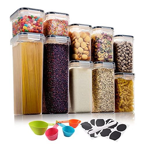 Aitsite 10 Stück Vorratsdosen Set, Müsli Schüttdose Frischhaltedosen, BPA frei Kunststoff Vorratsdosen luftdicht,Trockenfutterbehälter, 12 Etiketten für Getreide, Mehl, Zucker usw