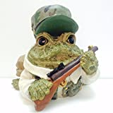 Homestyles Toad Hollow #95373 Figurine Hunter with Gun Dressed in Camo Garden Statue Toad Large 8.5' h Figure Natural Brown