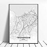 Kunstdrucke Leinwand Trondheim Norwegen Schwarz-Weiß-Stadt