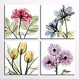 Cuadro de arte de pared con rosas de tulipán, flores transparentes, rojo dorado, vivo, flor, hogar, pared, impresión en lienzo floral en 4 piezas, 60x60cmx4 Marco interior