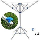 Deuba Tendedero portátil plegable con 4 brazos y 4 Pies seca ropa ideal para camping o exterior altura ajustable