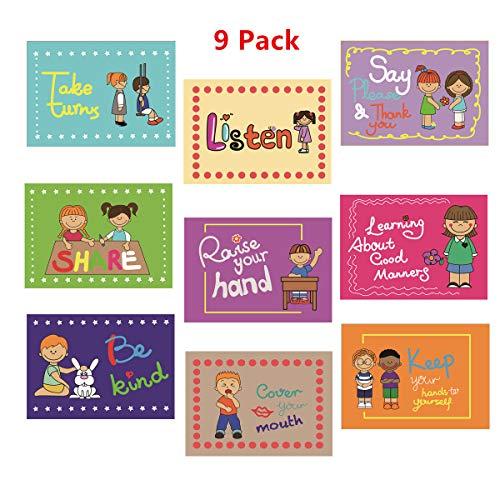 SANCENT 9 gute Gewohnheiten höfliche Klasse Regeln Schilder & pädagogische Poster zum Lernen von Kleinkindern, englisches Unterrichtsmaterial, Klassenzimmer-Dekoration, Organisationstabellen