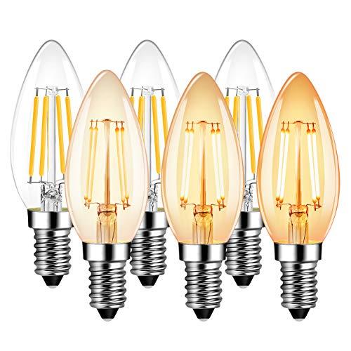LVWIT Lampadine Dimmerabile di Filamento a LED Attacco E14,Forma a Candela C35,4,5W Equivalenti a 40W, 470 Lumen,2700K,Colore Bianco Caldo,Stile Vintage Retro',Regolabile - Pacco da 6 Pezzi