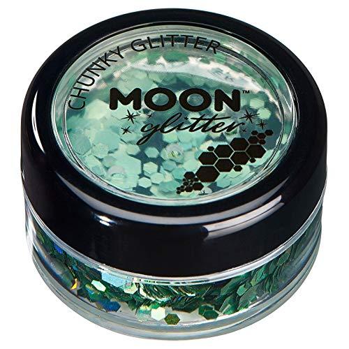 Paillettes holographiques rondes par Moon Glitter (Paillette Lune) – 100% de paillettes cosmétique pour le visage, le corps, les ongles, les cheveux et les lèvres - 3g - Vert