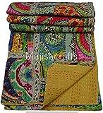 Majisacraft indische handgemachte Tagesdecke für Doppelbetten, 100prozent Baumwolle, Kantha-Steppdecke, Multi-Patchwork-Steppdecke, Bettüberwurf (Spitzen-Patchwork)