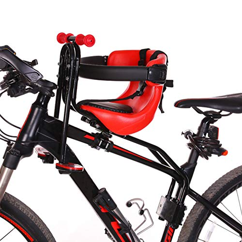 DFWYG Silla Delantera para Niños para Bicicleta Sillas de Bicicletas para Niños, Asiento Bicicleta para Niños con Cinturón de Seguridad, Respaldo, Pedales, Pasamanos, para Niños, Niñas, Bebés,Rojo