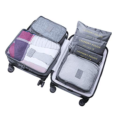 WOWTOY 6PCS Packing Cubes for Travel Luggage Organiser Bag Compression Pouches Clothes Suitcase, Packing Organizers Storage Bags for Travel Accessories, Grey