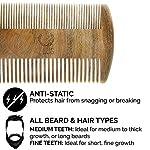 ZEUS Organic Sandalwood Double-Sided Beard Comb with Genuine Leather Sheath - R31 5
