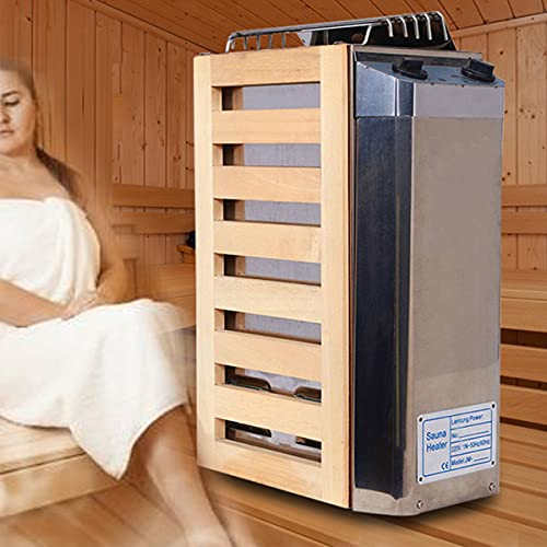 EFGSbed Elektrische Edelstahl Saunaofen, Sauna Heizgerät Mit Zeitsteuerungs Und Temperatursteuerungsschalter, Gute Wärmeleitfähigkeit Für Saunakabinen Bis 13m³,Internal Control,3.6kw