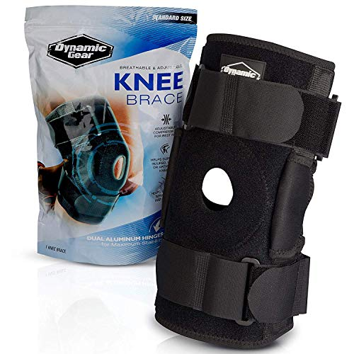 Dynamic Gear Open Patella Stabilizing Knee Brace with Dual Aluminum Stability Hinges - Padded Neoprene Adjustable Compression Knee Support Brace for Meniscus Tear, ACL, Strains, Knee Pain, Arthritis