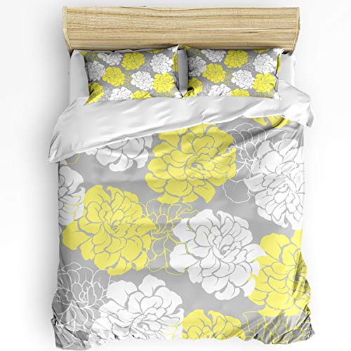 3 Pcs Queen Duvet Cover Set - Yellow Grey Bouquets Peony Flower Soft Breathable Bedding Set with Zipper Closure and 2 Pillow Shams (Not Including Comforter)