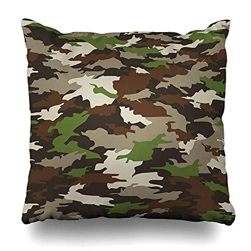 AlineAline Funda de almohada caótica beige armado abstracto militar camuflaje patrón fatiga relleno herbáceas combinación de colores con cremallera 45,7 x 45,7 cm