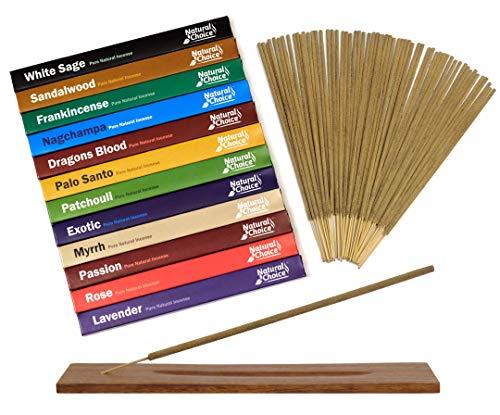 Natural Choice Incense Gift Pack with a Wooden Burner (12 Fragrances) Dragons Blood, White Sage, Palo Santo, Sandalwood, Frankincense, Myrrh, Lavender, Nagchampa, Patchoul, Rose, Passion & Exotic